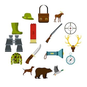 Zestaw ikon polowania w stylu płaskiego