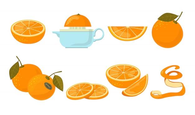 Zestaw ikon pomarańczowych owoców