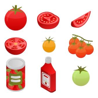 Zestaw ikon pomidorów, izometryczny styl
