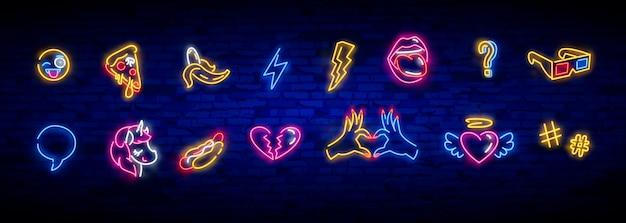 Zestaw ikon pop-artu. neonowy znak pop-artu. jasny szyld, lekki baner.