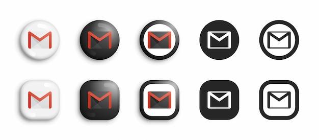 Zestaw ikon popularnych usług pocztowych google gmail