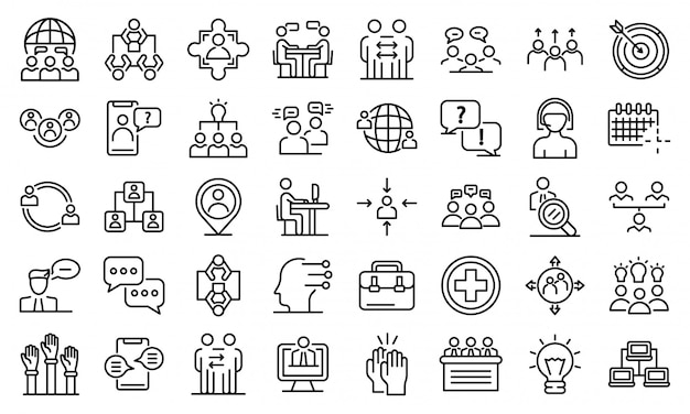 Zestaw ikon porad, styl konturu