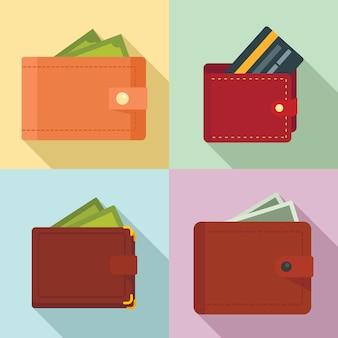 Zestaw ikon portfela, płaski