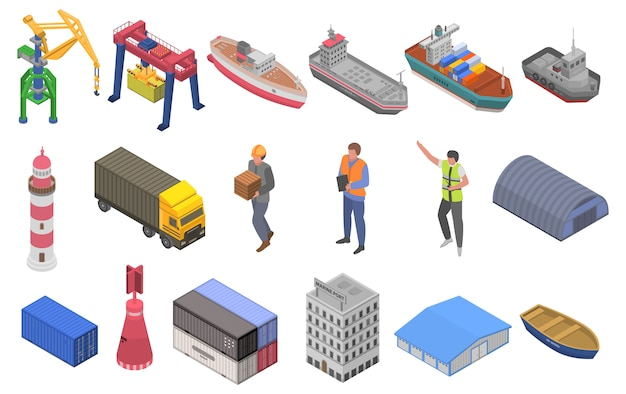 Zestaw ikon portu morskiego, styl izometryczny
