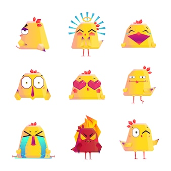 Zestaw ikon postać z kreskówki śmieszne kurczaka