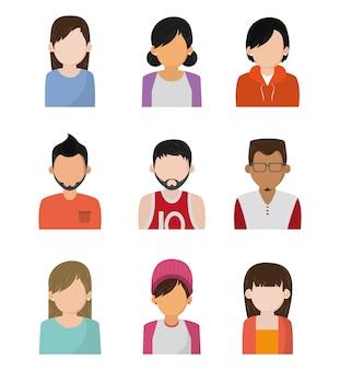 Zestaw ikon postaci bez twarzy ludzi