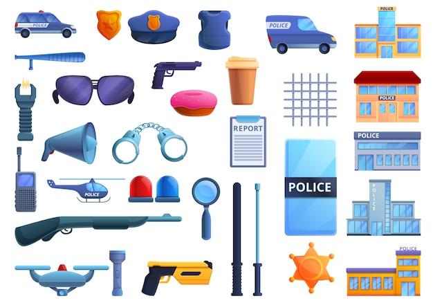 Zestaw ikon posterunku policji, stylu cartoon