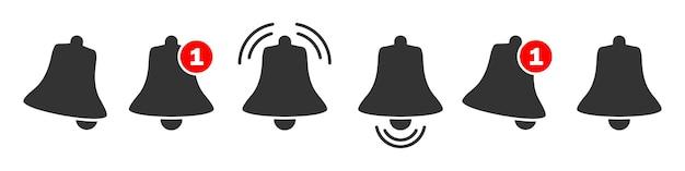 Zestaw ikon powiadomień dzwonka. nowe ikony wiadomości