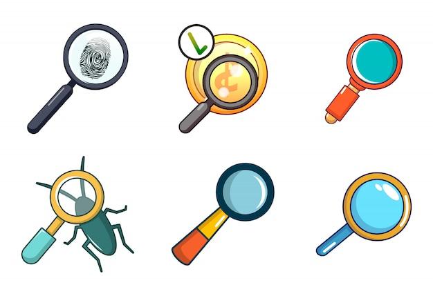 Zestaw ikon powiększonego szkła. kreskówka zestaw powiększony szkło wektor zestaw ikon na białym tle