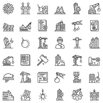 Zestaw ikon pracy rozbiórki, styl konturu