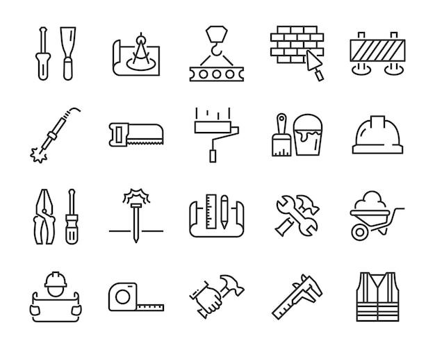 Zestaw ikon pracy, takich jak inżynier, cieśla, budownictwo, konstruktor