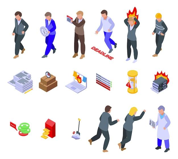 Zestaw ikon pracy w pośpiechu. izometryczny zestaw ikon wektorowych pośpiechu do projektowania stron internetowych na białym tle