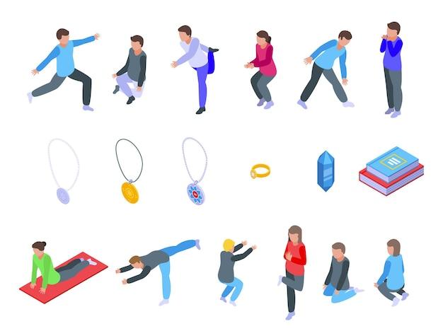 Zestaw ikon praktyk duchowych. izometryczny zestaw ikon wektorowych praktyk duchowych do projektowania stron internetowych na białym tle