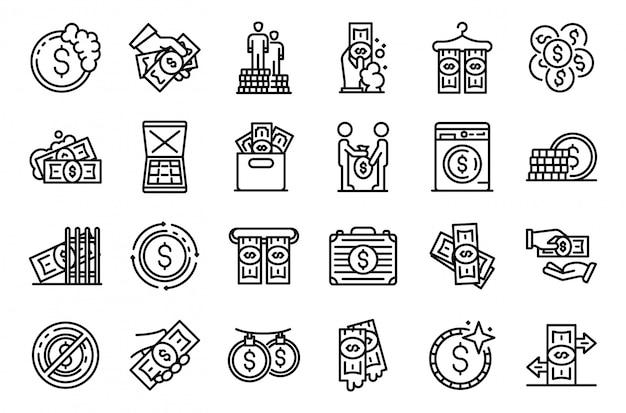 Zestaw ikon prania pieniędzy, styl konturu
