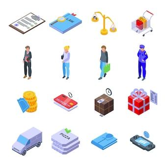 Zestaw ikon praw konsumenta. izometryczny zestaw ikon wektorowych praw konsumenta do projektowania stron internetowych na białym tle