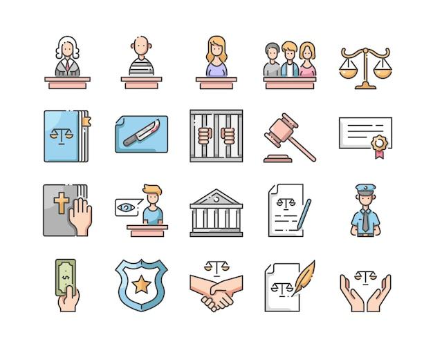 Zestaw ikon prawa i sprawiedliwości