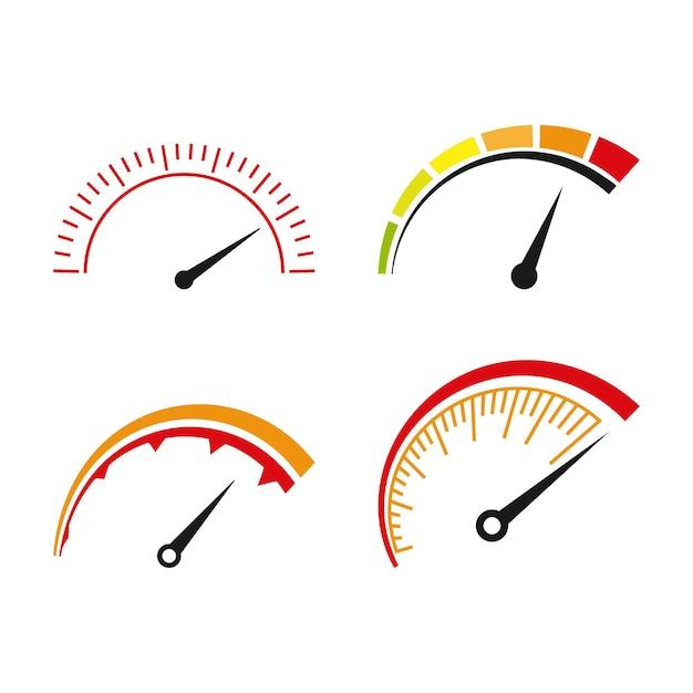 Zestaw ikon prędkościomierza szablon pakietu na białym tle