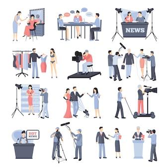 Zestaw ikon pressman i operatora