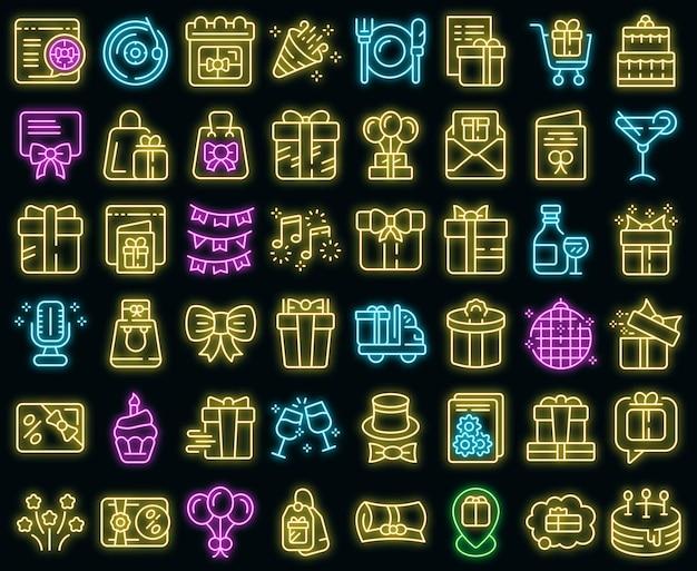 Zestaw ikon prezent urodzinowy wektor neon