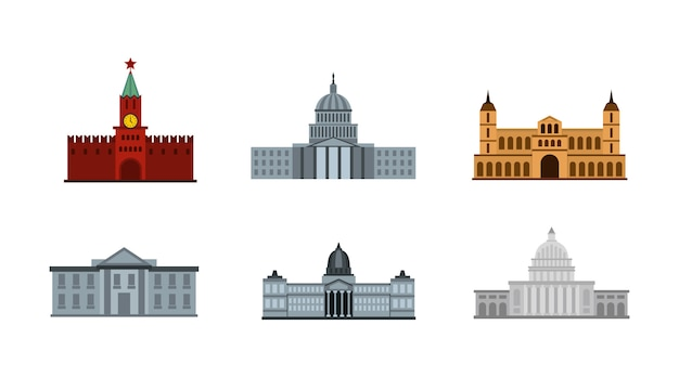 Zestaw ikon prezydenta budynku. płaski zestaw prezydenta budynku wektor zbiory ikony na białym tle