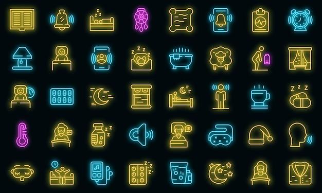 Zestaw ikon problemów ze snem. zarys zestaw problemów ze snem wektorowe ikony neonowe kolory na czarno