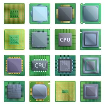 Zestaw ikon procesora. kreskówka zestaw ikon wektorowych procesora