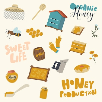 Zestaw ikon produkcji miodu i przemysłu pszczelarskiego. drewniany ul, chochla i czapka pszczelarza z pszczołami i plastrami miodu