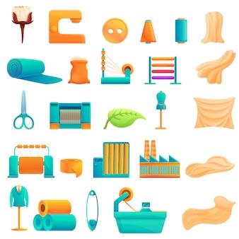 Zestaw ikon produkcji włókienniczych, stylu cartoon
