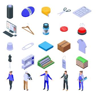 Zestaw ikon produkcji wyrobów włókienniczych, izometryczny styl