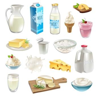 Zestaw ikon produktów mlecznych