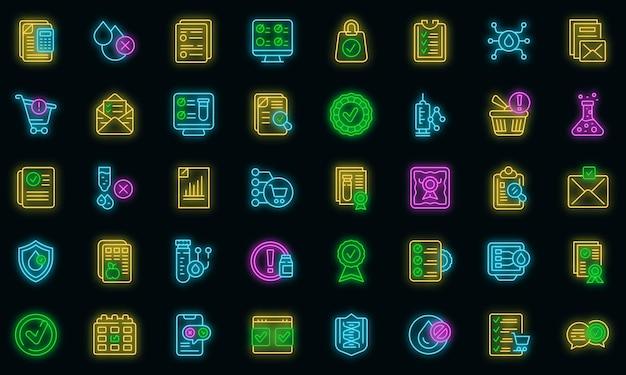 Zestaw ikon produktów regulowanych neonowy wektor