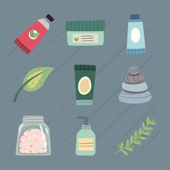 Zestaw ikon produktów spa i pielęgnacji skóry