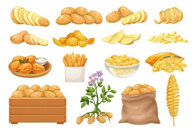 Zestaw ikon produktów ziemniaczanych