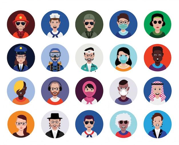 Zestaw ikon profilu awatara, w tym awatary męskie i żeńskie.