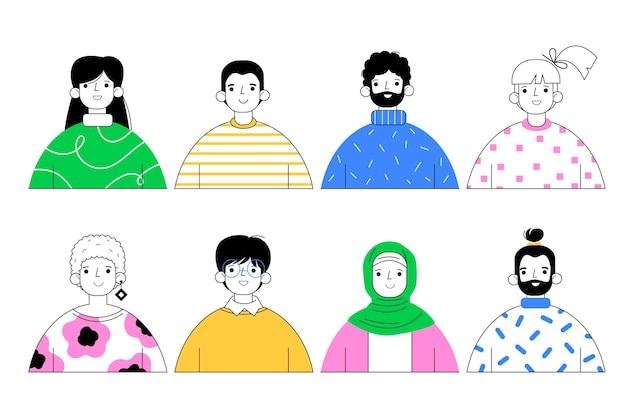 Zestaw ikon profilu w ręcznie rysowanym stylu
