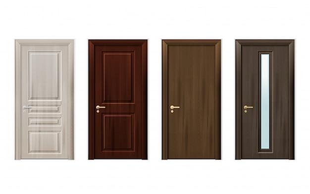 Zestaw ikon projekt drewniane drzwi