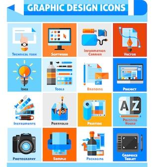 Zestaw ikon projektowania graficznego