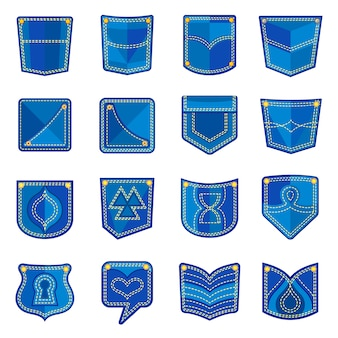Zestaw ikon projektowania kieszeni