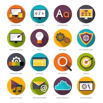 Zestaw ikon projektowanie stron internetowych
