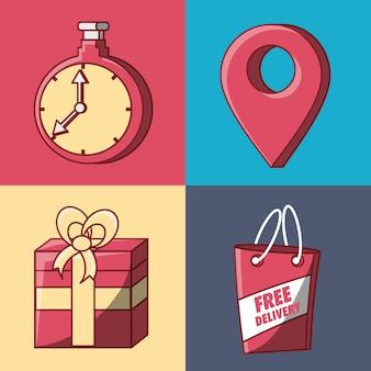Zestaw ikon projektu bezpłatnej dostawy