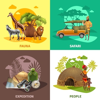Zestaw ikon projektu safari