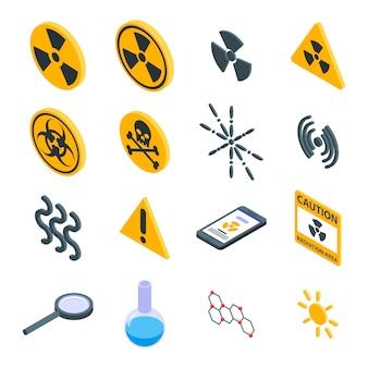 Zestaw ikon promieniowania, izometryczny styl