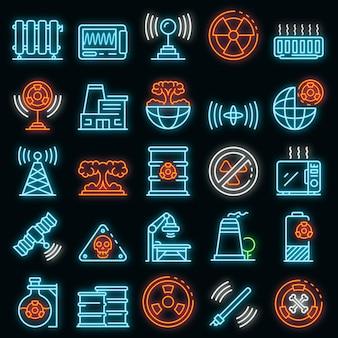 Zestaw ikon promieniowania. zarys zestaw ikon wektora promieniowania w kolorze neonowym na czarno