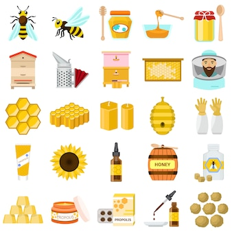 Zestaw ikon propolisu. płaski zestaw wektora propolisu