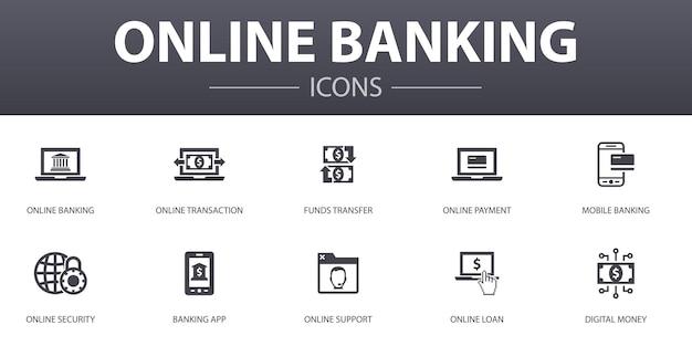 Zestaw ikon prosta koncepcja bankowości internetowej. zawiera ikony, takie jak transfer środków, bankowość mobilna, transakcje online, cyfrowe pieniądze i inne, mogą być używane w sieci, logo, ui/ux