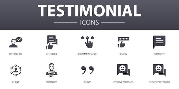 Zestaw ikon prosta koncepcja referencji. zawiera takie ikony, jak opinie, rekomendacje, recenzje, komentarze i inne, mogą być używane w sieci, logo, ui/ux