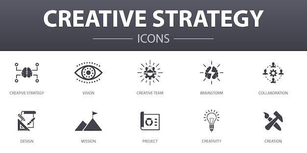 Zestaw ikon proste koncepcja strategii twórczej. zawiera takie ikony, jak wizja, burza mózgów, współpraca, projekt i inne, mogą być używane w sieci, logo, ui/ux
