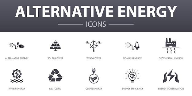 Zestaw ikon proste pojęcie alternatywnej energii. zawiera ikony takie jak energia słoneczna, energia wiatrowa, energia geotermalna, recykling i inne, mogą być używane w sieci, logo, ui/ux