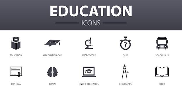 Zestaw ikon proste pojęcie edukacji. zawiera takie ikony, jak ukończenie szkoły, mikroskop, quiz, autobus szkolny i inne, mogą być używane w internecie, logo, ui/ux