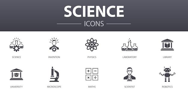 Zestaw ikon proste pojęcie nauki. zawiera takie ikony, jak wynalazek, fizyka, laboratorium, uniwersytet i inne, może być używany w internecie, logo, ui/ux